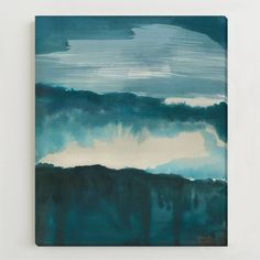West Elm Canvas Print - Watercolor Landscape ($249) ❤ liked on Polyvore featuring home, home decor, wall art, landscape wall art, watercolor wall art and west elm