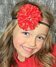 Love this Red & Black Flower Headband on #zulily! #zulilyfinds