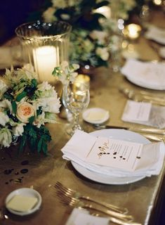 Formal gold wedding reception table setting #wedding #blacktie #tablescape #gold #reception