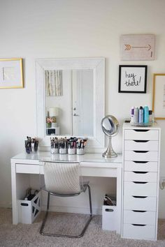 Makeup Storage and Organization: Tips and Ideas Makeup Storage and Organization: Tips and Ideas,VANITY ORGANIZATION Makeup Storage and Organization: Tips and Ideas – Beauty and the Bench Press Related posts:The History of Eyeshadow. Makeup Storage For Small Spaces, Room Ideas Bedroom, Bedroom Decor, Ikea Room Ideas, Bedroom Mirrors, Bedroom Small, Makeup Storage Organization, Organization Ideas, Diy Storage