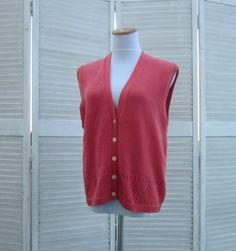 Vintage 90s Sweater Vest Salmon Cotton Knit by GroovyGirlGarb, $26.00