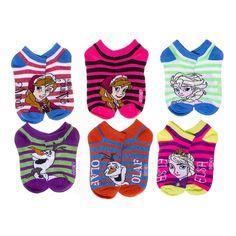 Disney Frozen Little Girls' Striped No Show Socks