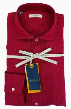 Delsiena 2537 30 Linen Shirt Red - £75 with FREE UK Delivery #Linen #Mens #Fashion #Delsiena #Summer