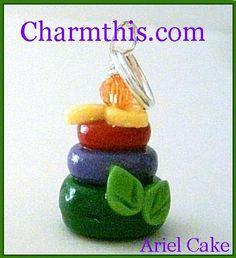Polymer Clay Princess Ariel Cake Charm on Etsy, $4.00