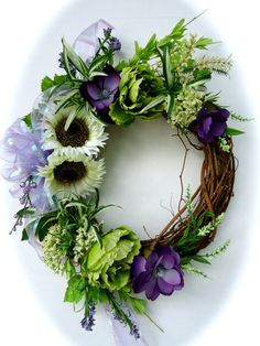 Natural Grapevine Wreath with White Sunflowers by NaturesTrueArt