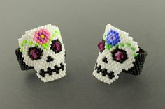 Peyote Woven Delica Seed by CabinFeverBracelets Diy Jewelry Rings, Seed Bead Jewelry, Beaded Rings, Seed Beads, Sugar Skull Jewelry, Sugar Skull Earrings, Skull Wedding Ring, Skull Engagement Ring, Peyote Patterns