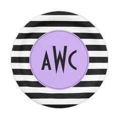 Monogram Black and Purple Party Plates  sc 1 st  Pinterest & Purple u0026 Gold Chevrons Photo Graduation Paper Napkin | Purple ...