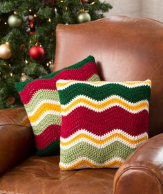 Holiday Chevron Pillows Free Crochet Pattern from Red Heart Yarns