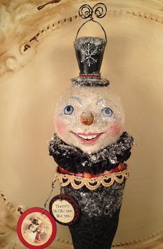 Folk Art Snowman ornament primitive Christmas by FolkArtByPenny, $39.00