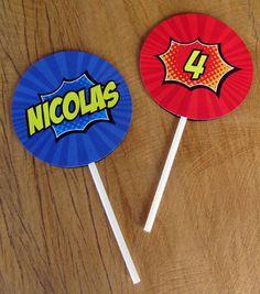 Tags para cupcakes Festa Super Heróis  contato: designfesteiro@gmail.com R$ 1,10