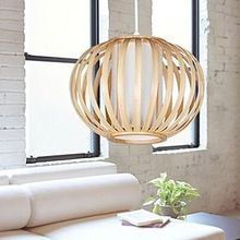 Free Shipping LED E27 Pendant Lights Bamboo The Original Wood Color Modern Simple Size:27*27*20cm(China (Mainland))