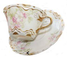 Antique French Haviland Limoges Pink Gilt Rose Demi Cup