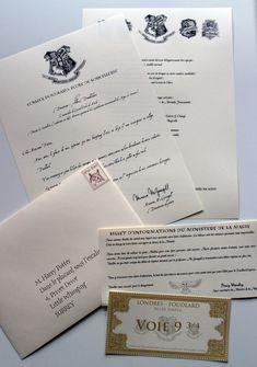 Lettre d'admission personnalisée à Poudlard - inspiré Harry Potter - (Lettre de Mc Gonagall, liste des fournitures, billet Poudlard Express,