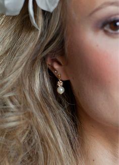 """Boucles d'oreilles mariée """"Margaux"""" avec perles nacrées - So Hélo"""