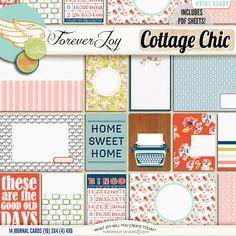 Digital Scrapbooking Kit - Cottage Chic Journal Cards | ForeverJoy Designs