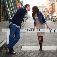 Beale Street, the downtown Memphis landmark served as such a fun setting for this couple's engagement session.