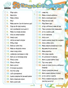 50 Things to do This Summer I need to print this off and accomplish it!