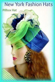Hat Royal Blue Pillbox Designer Fashion Womens Special Occasion lym78