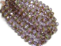 Czech Picasso Beads 6x8mm Lt Amethyst Picasso by GR8BEADS on Etsy (Craft Supplies & Tools, Jewelry & Beading Supplies, Beads, Czech Glass Beads, firepolished, fire polished, earring beads, jewelry beads, picasso beads, czech rondelle bead, czech faceted bead, glass rondelle, purple beads, lavender beads, 5x8 8x5 6x8 8x6, amethyst purple)