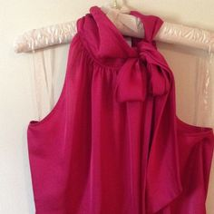 "Dark link silky high neck tie tank top Really pretty dark pink dressy tank top with high neck that can be tied in a bow or knot, very sophisticated, will fit up to 37"" bust, length is 26"" LOFT Tops Tank Tops"
