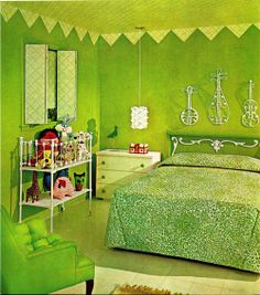Kermit the frog bedroom. Stella would freak out. Lime Green Bedrooms, Bedroom Green, Green Rooms, Bedroom Colors, Retro Room, Vintage Room, Bedroom Vintage, Vintage Decor, 60s Bedroom