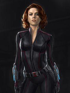Concept art de Avengers: Age of Ultron / Vengadores: La Era de Ultrón (2015), Viuda Negra por Andy Park