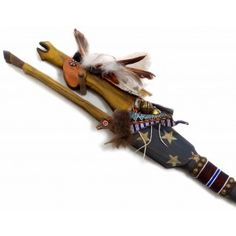 Carved Blue Horse Dance Stick w. White Stars and Buffalo Amulet - Closeup