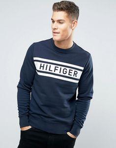 3431a76be3724 Tommy Hilfiger Denton Logo Sweatshirt Crew Neck - Navy Moda Hombre Joven