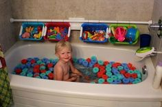 Pool Noodle Bath Fun. Let your kids have a blast in a bathtub filled with cut up pool noodles. Creative and inexpensive idea in summer.