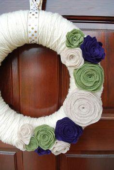 felt yarn wreaths