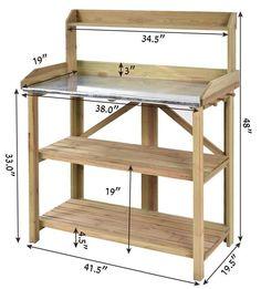 Garden Potting Bench Organizer Storage Shelves Outdoor Work Table Wooden | eBay