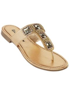 Gold Leather Jewelled Toe-Post Sandals