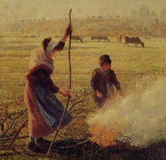 """Camille Pissarro (1830-1903) ~ """"Gelée Blanche, Femme Cassant du Bois"""", c.1889 ~ Huile sur Toile ~ Collection Privée"""