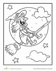Halloween First Grade Holiday Worksheets: Witch Coloring Page Halloween Coloring Sheets, Witch Coloring Pages, Adult Coloring Book Pages, Coloring Books, Colouring, Halloween Quilts, Halloween Books, Halloween Cards, Halloween Fun
