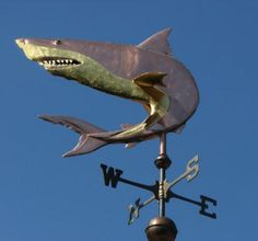 Curved Great White Shark Weathervane by West Coast Weather Vanes.