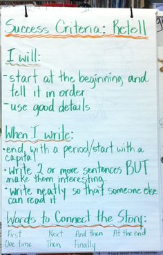 Retell anchor chart, grade 1&2. Success criteria co-created with students.