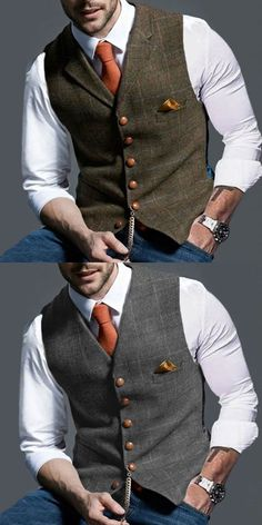 Bussiness Casual Vest - Men's clothes, stylish men's vest , trendy style & exquisite workmanship, perfect for your gent - Men's Business Outfits, Business Men, Mens Smart Casual Outfits, Casual Suit, Traje Casual, Mode Man, Herren Outfit, Vest Outfits, Mens Fashion Suits