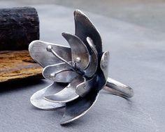 Ring | Andrea Schettino.  'Night Blossom' Handmade from sterling silver.