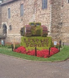 Tank made of bushes - outside the war memorial in Colchester Castle Park Colchester Castle, Remembrance Day Poppy, Interesting Buildings, Castles, Stepping Stones, Poppies, Sidewalk, War, Memories