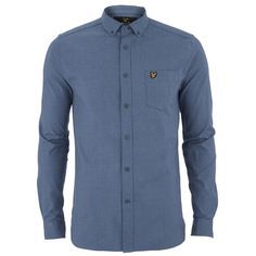 Lyle & Scott Men's Mouline Oxford Shirt - Navy (2,770 PHP) ❤ liked on Polyvore featuring men's fashion, men's clothing, men's shirts, men's casual shirts and blue