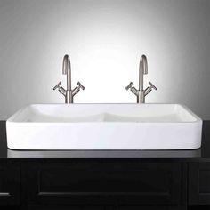 New Post double bowl sink bathroom