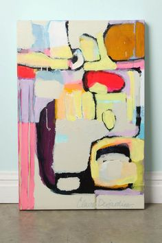 """Just Enough"" by Claire Desjardins, as it appears on Anthropologie.com. Claire Desjardins is a fine artist working in Quebec, whose interest in graffiti, street art and abstract expressionism is apparent in the vibrant colors and forms of her work. With this original painting, Desjardins seeks the perfect balance of bright and neutral, rough and smooth so the finished piece quietly and oh-so gently, whispers. One of a kind Unframed Acrylic on canvas 20""H, 30""W Canada"