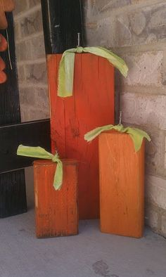 Wooden square pumpkin decorations. Finally something I might be capable of making.