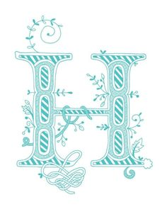 Hand drawn monogrammed print, 8x10, the Letter H, in the color blue