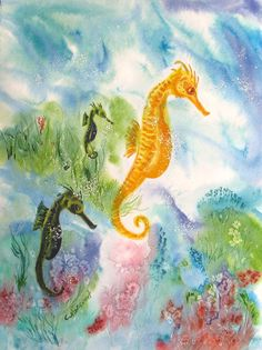 Sea Horse Painting. Sea world sea life coral by CecileRancourtArt