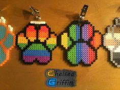 Rainbow Paw Print Perler Bead Badges