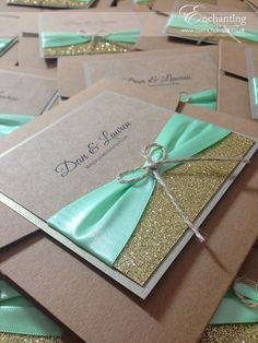 "Pocketfold Invitation | Featuring ""Gold Glitter"" paper, ""Mint"" green ribbon, and a twine bow 