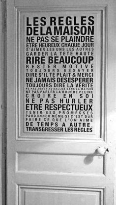 Idée déco ; sktickers sur porte, les regles de la maison !