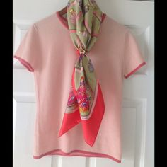HOST PICKNWT ShortSleeve Pink Cashmere Sweater HOST PICK for the Feminine Fashion Party!  NWT Mac & Jac Pink Short Sleeve 100% Cashmere Sweater.  Very Soft Size Medium.  Scarf and Ring in picture not included.  No Trades & No PayPal Mac & Jac Sweaters