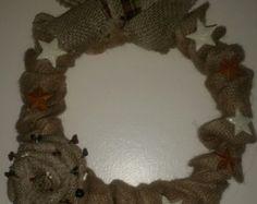 Knot Wreath Linen Wreath Burlap Wreath by EllitonCrossing